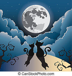cat under the full moon - silhouette of two cute kitty cat...