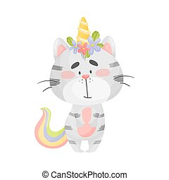 Cat unicorn is standing. Vector illustration on a white background.