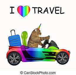 Cat unicorn loves to travel