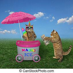Cat unicorn sells ice cream in the park