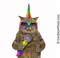Cat unicorn singing a song at the stage
