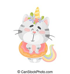 Cat unicorn with a lifebuoy. Vector illustration on a white background.