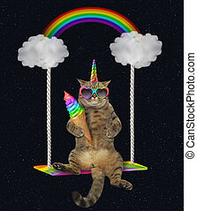 Cat unicorn with ice cream swinging