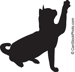Cat vector silhouette isolated on white background