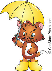 Cat vector - Cat with Umbrella isolated on white background....
