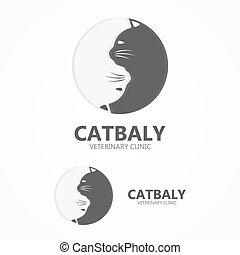 Cat vector icon. Pet shop logo.