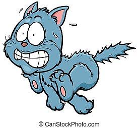 Cat - Vector illustration of scared cartoon cat