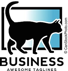 Cat vector logo design vector - black cat with square color...