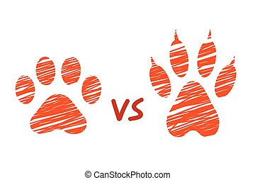Cat vs dog concent, sketched dog and cat footprints, ...