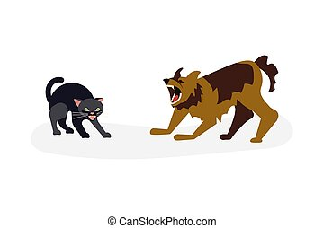 Cat vs dog concept. Dog attack to kitty, cat is arching his ...