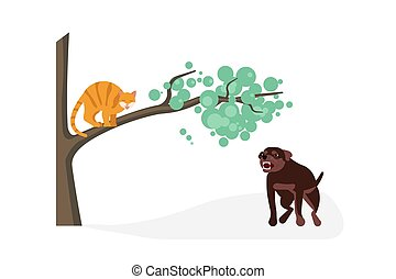 Cat vs dog concept. Dog attak to kitty, cat is arching his ...