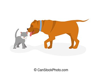 Cat vs dog concept. Dog licked to kitty, cat is purrs and ...