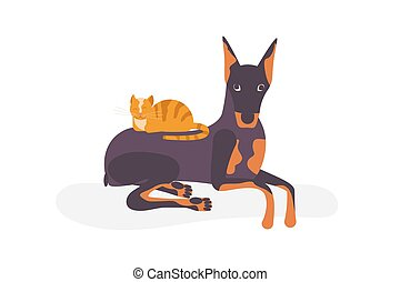 Cat vs dog concept. The kitty lies and sleeps on the back of...
