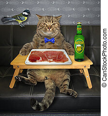 Cat wants to eat slices of meat