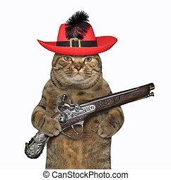 Cat warrior holds a pistol 2