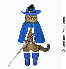 Cat warrior in blue with a sword