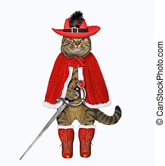 Cat warrior in red with a sword