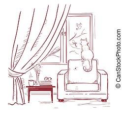 cat watching birds near the window.Interior room with modern armchair