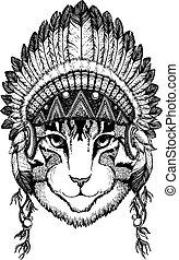 Cat Wild animal wearing inidan headdress with feathers. Boho...