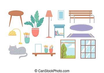 cat windows bench plant lamp carpets decoration icons