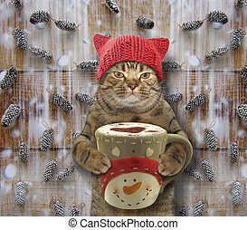 Cat with a big cup of coffee 2