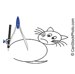 Cat with a compass - Task of drawing a Cat with a compass