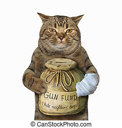 Cat with a money box for gun
