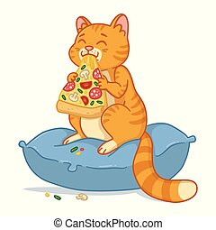 Cat with a pizza slice.