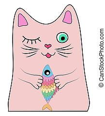 Cat with a rainbow fish in its paws, print, design