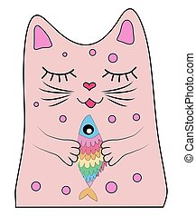Cat with a rainbow fish in its paws, print