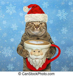 Cat with a Santa Claus cup of coffee 2