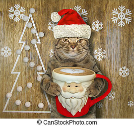 Cat with a Santa Claus cup of coffee 4