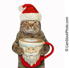 Cat with a Santa Claus cup of coffee