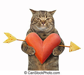 Cat with a sausage heart 3