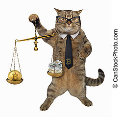 Cat with a scale of justice
