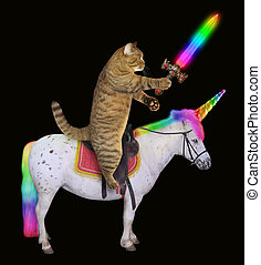 Cat with a sword rides the unicorn 2