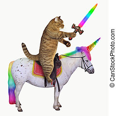 Cat with a sword rides the unicorn