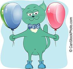 cat with balloons cartoon vector illustration.