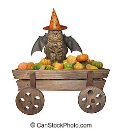 Cat with bat wings on wooden cart 2