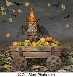 Cat with bat wings on wooden cart