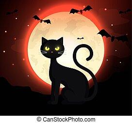 cat with bats flying in halloween scene