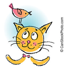 Cat with bird. Cartoon illustration