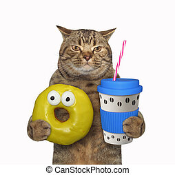Cat with blue cup of coffee