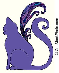Cat with butterfly wings, isolated white background.