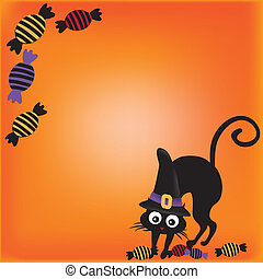 cat with candies in halloween