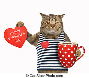 Cat with coffee and a heart