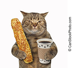 Cat with coffee and baguette