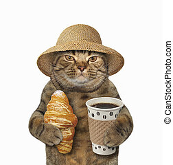 Cat with coffee and croissant 3