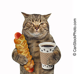 Cat with coffee and sausage in dough