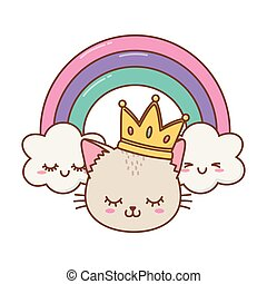 cat with crown and rainbow